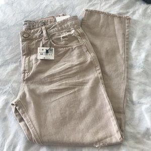 Zara NWT beige ribbed Jeans